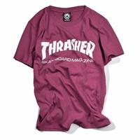 2017 de alta qualidade Thrasher T Shirt Mulheres Skate skins Tee Short Sleeve Skate Tops Homem Hip Hop homme Trasher camisas do tipo t