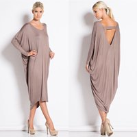 Maxi Dresses Fall Loose Dresses Big V- neck Hollow out Mid- Ca...