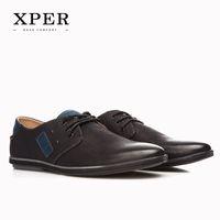 2016 XPER Mens Casual Shoes Lace- up Black Men Flats Shoes Bu...