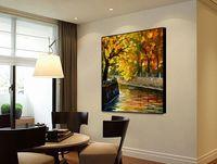 Современная гостиная ресторан тротуара простой стиль декора холст картины маслом высокого качества ручной росписью мастихином живопись JL450