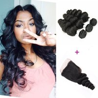Brazilian Loose Wave Hair With Closure 3 Bundles with Lace C...