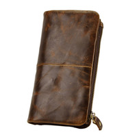 Vintage Man Wallet Genuine Leather Man Purse Long Shape Cowh...