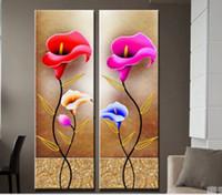 2PCS Калла Цветы Качество Холст, подлинный расписанную современного декора стены цветочные картина маслом Painting.Multi подгонять размер Рамку Доступные