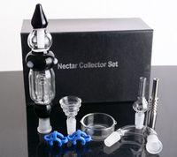 EN STOCK Nectar Coupe-tube en verre d'eau Conseils avec Titane Nail Dabber Dish gros bongs en verre pur 14mm joint