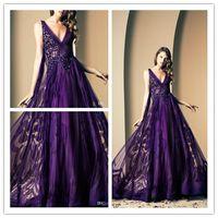 Ziad Nakad Purple Print Evening Dresses Flowers V- Neck Beade...