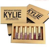 Oro Kylie Jenner lipgloss Cosméticos Matte Lipstick Brillo Labial Mini Leo Kit Lápiz Cumpleaños Edición Limitada con Gold Retail Packaging