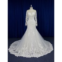 Real Photos Long Sleeves Plus Size Mermaid Wedding Dresses I...