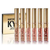 Kylie Matt líquido Lipstick edición de cumpleaños Kylie Jenner lipgloss 6pcs / set Mini kylie lipgloss kit de oro
