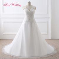 Скромная Vintage Lace 2017 года Свадебные платья V шеи рукава Cap бисера аппликация Тюль Свадебное линия Платье Noiva Дешевые платья Свадебные