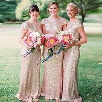 Cheap Sequined Bridesmaid Dress Long Scoop Short Sleeve Shin...