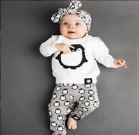 Summer Ins Infant Baby Sets penguin Printed long sleeves Cot...