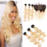 T1B 613 Ombre Silk Base 13x4 Lace Frontal Closure With 3 Bun...