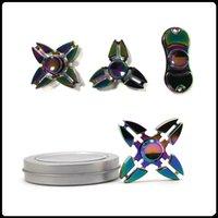 El arco iris más nuevo Spinner de la mano Puntas de los dedos Espiral Dedos Juguetes del girocompás Metal del metal del rodamiento de los cojines con la caja del metal
