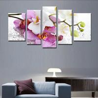 5 шт Домашнее украшение стены искусства Фиолетовый Розовый цветок Art Картина Краска на холсте Печать Картины из цветов настенные картины для гостиной