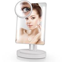 Miroir de maquillage LED miroir de maquillage avec miroir de grossissement USB 10x 36 feux ajustables intégrés écran tactile