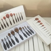 Hot 10 pcs Foundation oval multi- purpose makeup brush set ov...