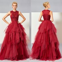 Burgundy Long Prom Dress Plus Size Appliques Beaded Tiered R...
