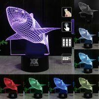 3D Shark Light 7 Colors Changing Table Desk Deck Lamp Bedroo...