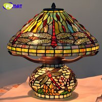 Tiffany Table Lamp Antique Art Decor Dragonfly Living Room T...