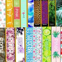 Pink Towel Lace Pink Lettre Leopard Fintness Serviette de sport VS Serviette de bain Leopard Fleur Maillot de bain Serviettes de plage 20 * 110 45 design KKA1432