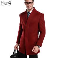 Оптовые- 2016 Мужские шерстяные блузки Куртки мужские средние с длинным шерстяным пальто Outwear homme chaqueta hombre