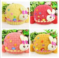 2016 new style Lovely rabbit Double ball Knitted cap for chi...