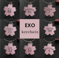 free shipping 8pcs lot cherry blossom exo keychain  key ring