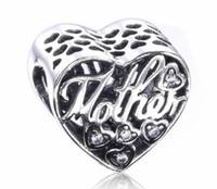 Le jour de la mère Hallow vers le haut de charme de coeur s'adaptent pour le bracelet de Pandore DIY le charme de perle 925 bijoux d'argent sterling