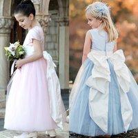Cheap 2017 Bow Flower Girls Dresses For Weddings Jewel Neckl...