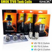 TFV8 Tête de bobine V8-T8 V8-T6 V8-Q4 RBA pour SMOK TFV8 Réservoir de bête de nuage Smoktech atomiseur Vaporisateur e cigarettes vapeur RDA Bobines de rechange DHL