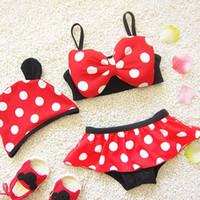 Everweekend Girls Dots Bow Swim Suits Swimwear Hats+ Tops+ Und...