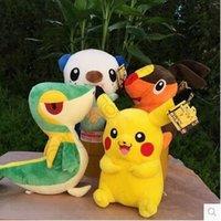 4 niños estilo Poke Pikachu muñecas de peluche Juguetes para niños Pikachu Snivy Tepig Oshawott peluche relleno peluche muñecas juguetes CCA5442 60pcs