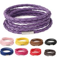 Модный браслет Boho Multi Colours Five Wraps Кожаный браслет Дешевые магнитные плетеные браслеты из кожи Браслеты