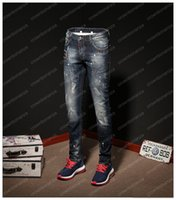 New Arrivals Men Elasticity Skinny Slim Biker Jeans Ripped H...