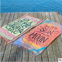 4 estilo borla toalla de playa Rectángulo bikini cubre la bohemia Hippie Beachwear playa Sarongs mantón toalla de baño de yoga estera CCA5623 30pcs