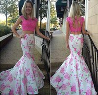 2PC Floral Print Mermaid Prom Dress 2017 Sexy Open Back Merm...