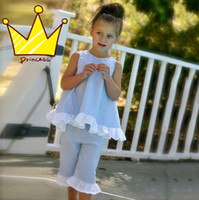 Ins Summer Girls Cotton Ruffled Bowknot Vest + Shorts Pants ...