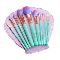 10 pcs maquillage pinceaux ensemble maquillage pinceaux kit kit pinceau cosmétique avec étui en cuir