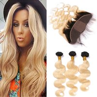 Blonde Ombre Silk Base Full Lace Closure 13x4 With Weaves Wa...
