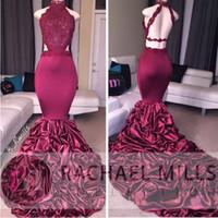 Бургундия высокой шеи шнурка Sequins платья выпускного вечера 2017 Sexy Русалка Backless оборками многоуровневого юбки Вечерние платья Royal Blue Long Wear Party
