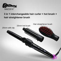 2017 El cepillo más nuevo 3 del straightner del pelo en la alta calidad determinada DHL del bigudí del straightner del pelo del bigudí de pelo