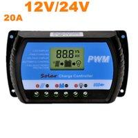 Прохладный Солнечный контроллер 20A PWM солнечной контроллер заряда ЖК-USB 5V солнечный регулятор 24V зарядное устройство 12V контроллер заряда батареи