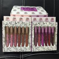 Nouvelle arrivée Kylie jenner kit Rouge à lèvres avec boîte rose pourpre 6pcs set lipgloss Liquid Lip Gloss Cosmétiques Edition limitée Matte Lasting Makeup