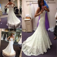 Mermaid Full Lace Wedding Dresses Crystal Beaded Sash Sweep ...