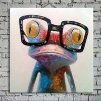 Чистая Ручная роспись Абстрактное животное искусство маслом Счастливая лягушка, Домашний декор стены На Высокое качество Размер холста можно настроить