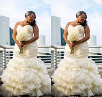 2017 Новый дизайн плюс размер платья венчания Mermaid Ruched драпированные Robe De Женитьба Милая Длина пола Длинные Bridakl мантий Дубай Арабский
