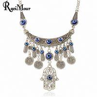 RAVIMOUR Fatima Evil Eye Hand Pendants Necklaces for Women J...