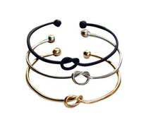 Silver Gold Black Colour Vente chaude simple nœud Love Copper Bracelet Bracelet ouvert Cuff Bangle cadeau pour les femmes