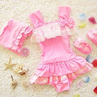 Everweekend Girls Stripes Ruffles Lace Swim Suits Halter Bow...