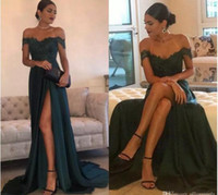 2017 A-Line Hunter Chiffon Chifon High Split Prom Vestidos Cutout Side Slit Lace Top Sexy Off Shoulder vestido longo Prom Party Dress